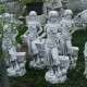 Különleges kerti szobor lány kosárral új
