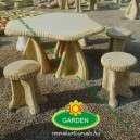 Kerti kőasztal székekkel