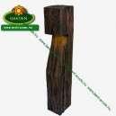 Rusztikus fahatású kerti lámpa kőből