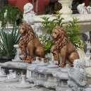 Kő oroszlán dísz szobor színezett balos